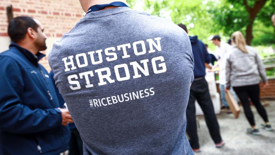 Houston Strong T Shirt on Male Student