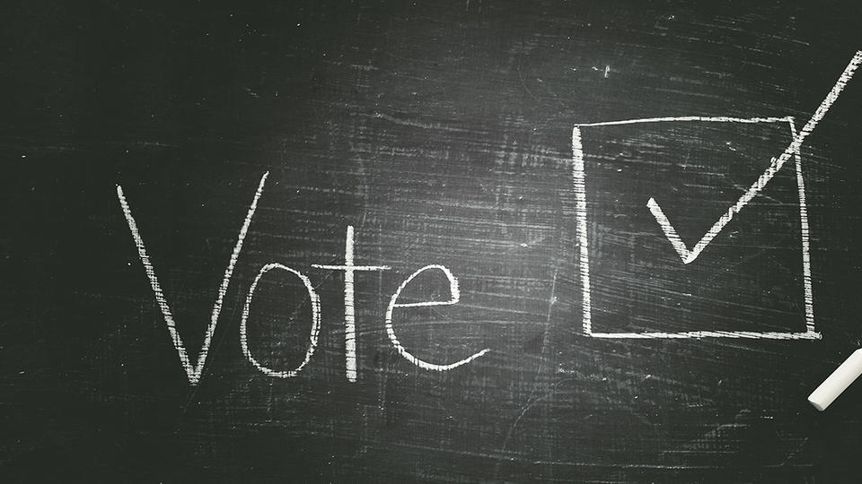 "Chalk board that reads ""Vote"" with a checked box next to it."