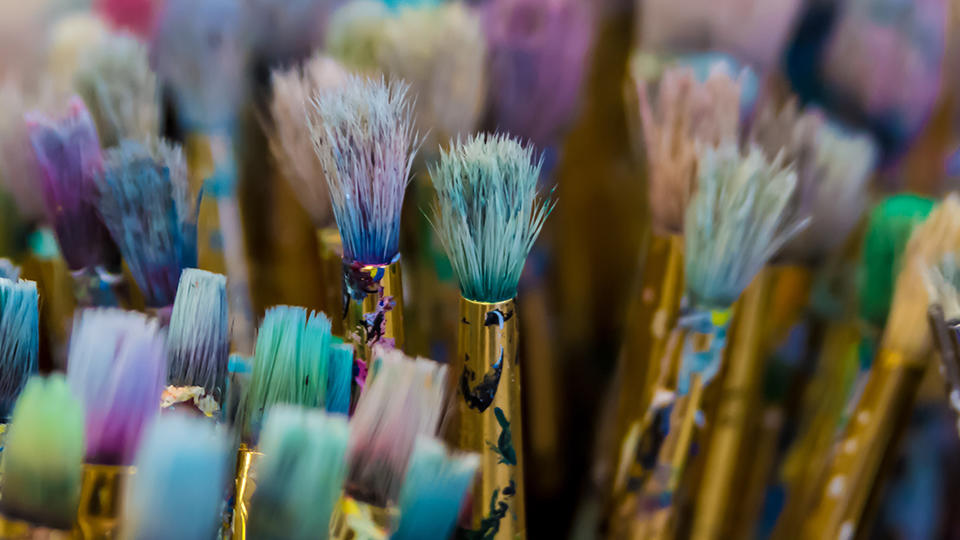 Stained paint brushes.