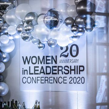 Women in leadership conference 2020 balloons and sign